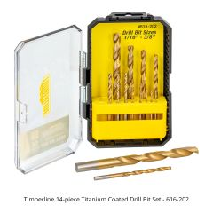 Timberline 14-piece Titanium Coated Drill Bit Set