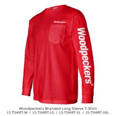 WOODPECKERS ADULT LONG-SLEEVE COTTON TEE WITH POCKET