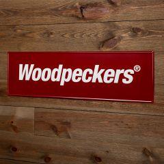 Woodpeckers Embossed Metal Logo Sign